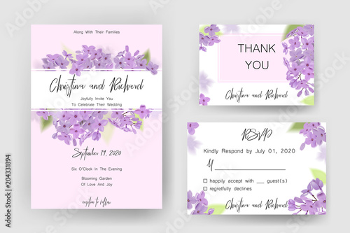Fototapeta Save The Date Card Wedding Invitation Greeting Card With Beautiful Flowers And Letters