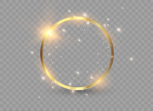 Abstract Luxury Golden Ring. Vector Light Circles And Spark Light Effect.