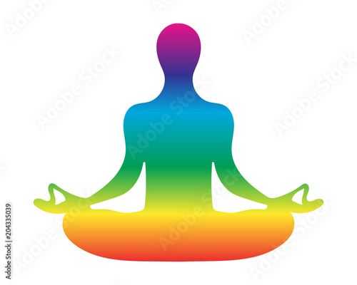 Fotografie, Obraz Meditation silhouette vector illustration