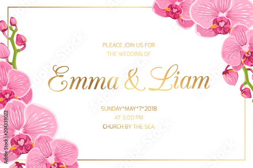 Photo Wedding marriage event invitation card template