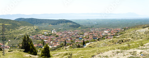Fotobehang Wit Landscape Meadow View of Village with Houses