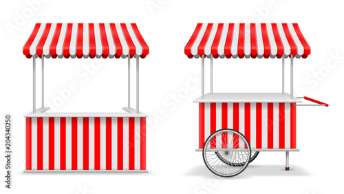 Fotografía Realistic set of street food kiosk and cart with wheels