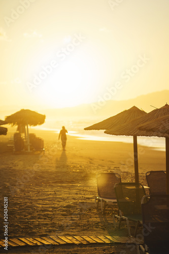 Fototapety, obrazy: Walk on the beach during a beautiful magical sunset.