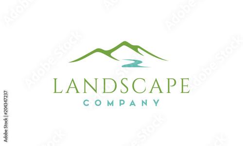 Foto Minimalist Landscape Hills, Mountain Peaks River Creek Simple logo design Vector