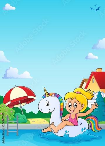 Staande foto Voor kinderen Girl floating on inflatable unicorn 4