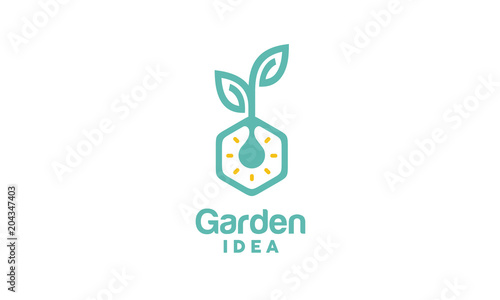Light Bulb Leaf Garden Plant Innovation Hexagon Logo design Canvas-taulu