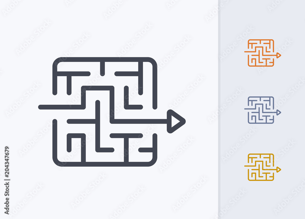 Fototapeta Arrow Through Maze - Pastel Stroke Icons . A professional, pixel-perfect icon.