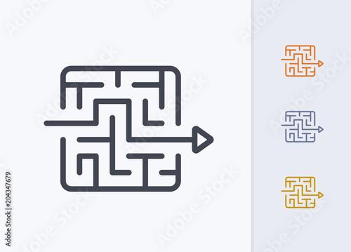 Photo Arrow Through Maze - Pastel Stroke Icons