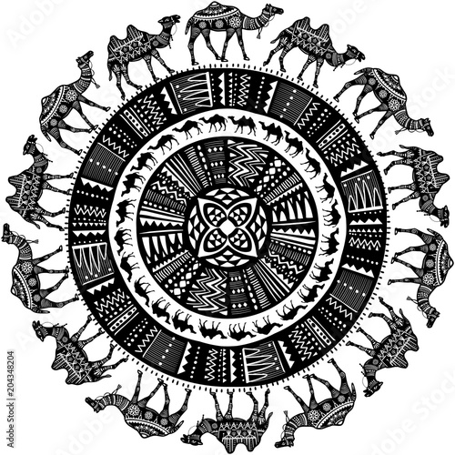 Fotografie, Obraz  Round pattern with decorated Camels
