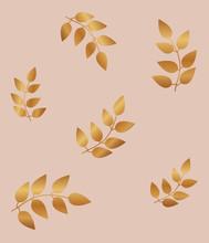Elegant Gold Leaves Seamless Pattern. Luxury Floral Background.