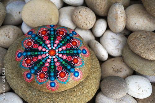 Fotografie, Tablou  Beautiful hand painted mandala rock