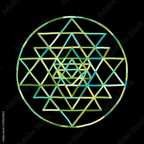 Photo Sacred geometry and alchemy symbol Sri Yantra