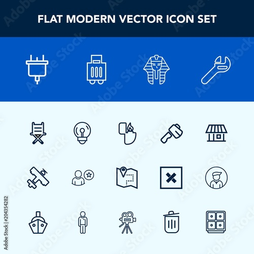 Modern, simple vector icon set with ancient, online, axe