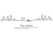 Silhouette Of The City And Heart And Love In Continuous Drawing Lines In A Flat Style. Modern Urban Landscape. Vector Illustrations. City Skyscrapers Building Office Horizon.Continuous Line Drawing