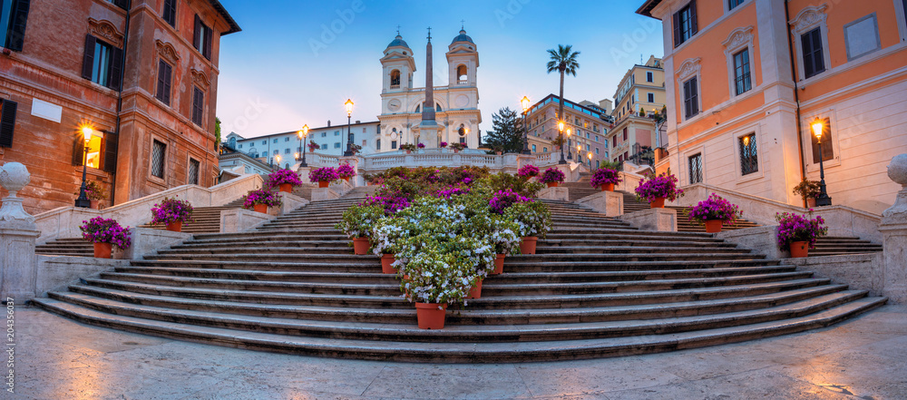 Fototapety, obrazy: Rome. Panoramic cityscape image of Spanish Steps in Rome, Italy during sunrise.