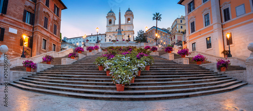fototapeta na ścianę Rome. Panoramic cityscape image of Spanish Steps in Rome, Italy during sunrise.