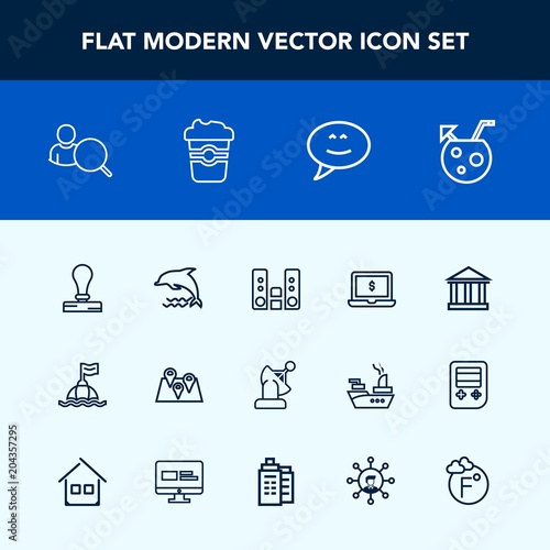Modern, simple vector icon set with music, road, chat, greek