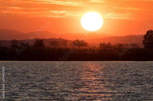 sunset over Neusiedler lake, Austria