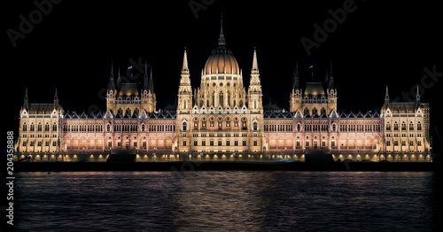 In de dag Boedapest View of the night Parliament of Budapest