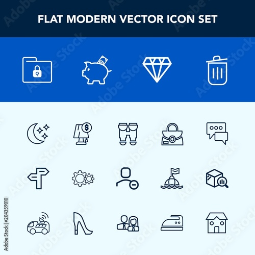Modern, simple vector icon set with gem, action, interior, fashion