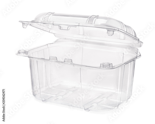 Empty transparent plastic food container