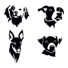 Dog Head Silhouette Set