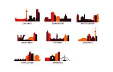 Canada Cities Icons Set, Modern Skyline Citysape Landmark Logo Vector Pack