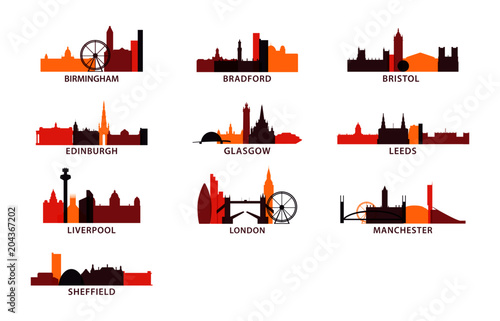 United Kingdom UK cities icons set, modern skyline citysape landmark logo vector Canvas Print