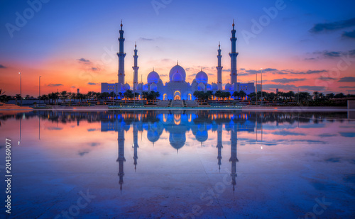 Canvas Prints Abu Dhabi Sonnenuntergang Sheikh Bin Zayed Grand Mosque