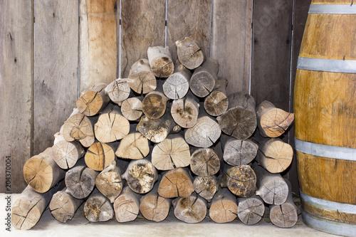 Aluminium Prints Firewood texture stack of firewood.