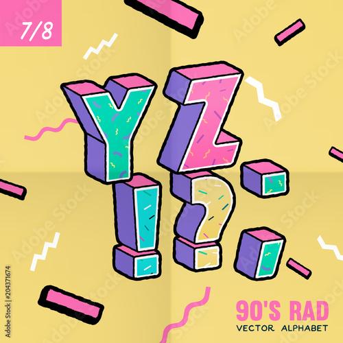 The 90's Rad. 90's style vector alphabet. Canvas-taulu