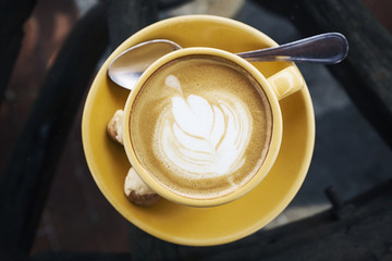 Overhead view of latte with...