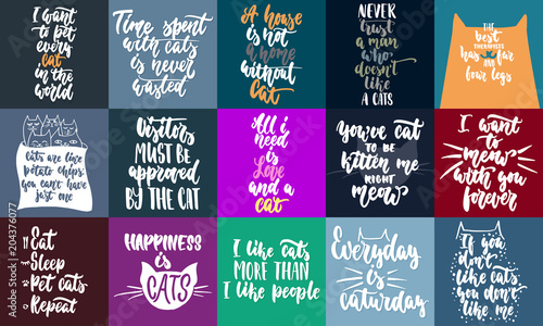 Poster Positive Typography Hand drawn lettering greeting cards collections about cats isolated on the white background. Fun brush ink vector calligraphy illustrations set for banners, poster design.