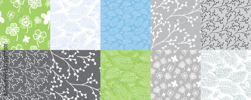 Cotton fabric Set of 10 seamless patterns with leaves and branches. Repeated graphic design for textile, background, greeting cards.