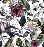 Fototapeta Fototapety do pokoju - Seamless watercolor pattern with tropical flowers, magnolia, orange flower, vanilla orchid, tropical leaves, banana leaves