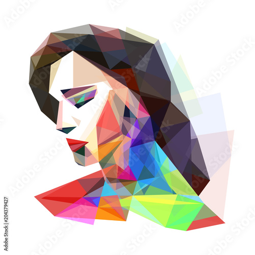 Girl stylized colorful, vector