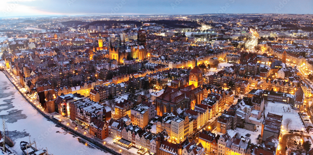 After sunset drone view of a city Gdansk Poland