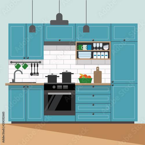 Modern Kitchen Interior Vector Illustration In Flat Style Buy