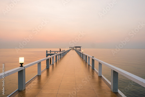 Fototapety, obrazy: view of bridge on the sea,scenic of beautiful evening.
