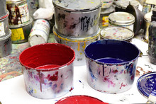 Ink Cans In A Printing Press