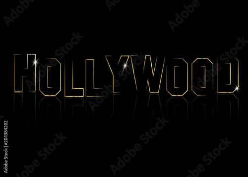 Hollywood golden vector logo , gold line letters isolated or black background Wallpaper Mural