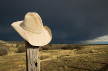 Cowboy Hat On Fence Post