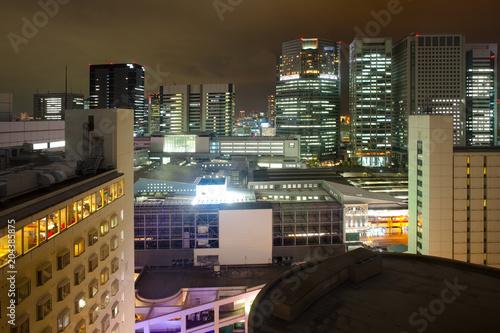 Tuinposter Tokyo Cityscape toward Shinagawa Intercity, Shinagawa, Tokyo, Kanto Region, Honshu, Japan