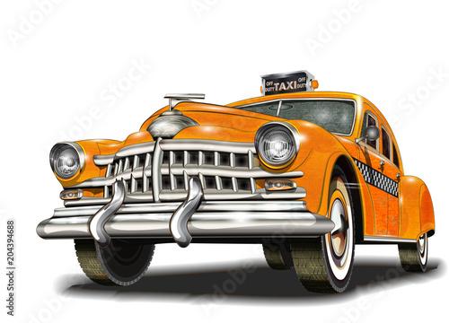 Obraz na płótnie Yellow taxi retro car.