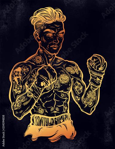 Vintage tattooed retro boxer fighter champion. Canvas Print