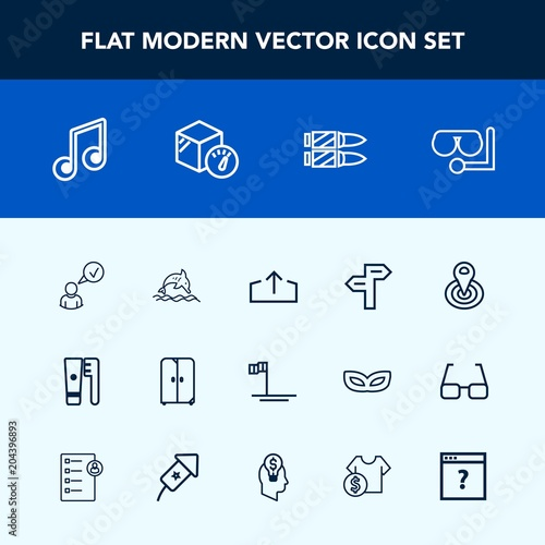 Modern, simple vector icon set with cupboard, dolphin, music