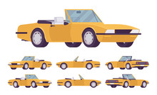 Yellow Cabriolet Car Set