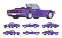 Purple Cabriolet Car Set