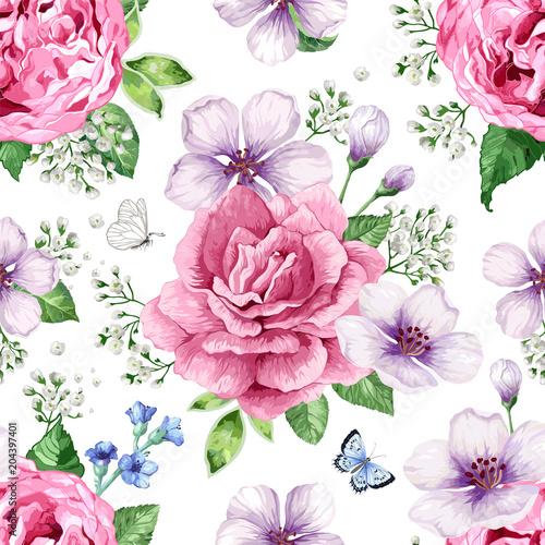 jablon-roze-hortensja-kwitnie-platki-i-liscie-w-stylu-akwarela-na-bialym-tle