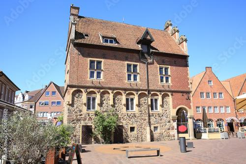 Poster Artistiek mon. The medieval city hall in Meppen, Emsland, Germany
